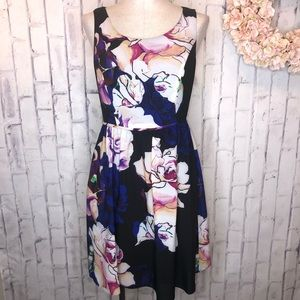 Adrianna Papell purple blue floral midi dress